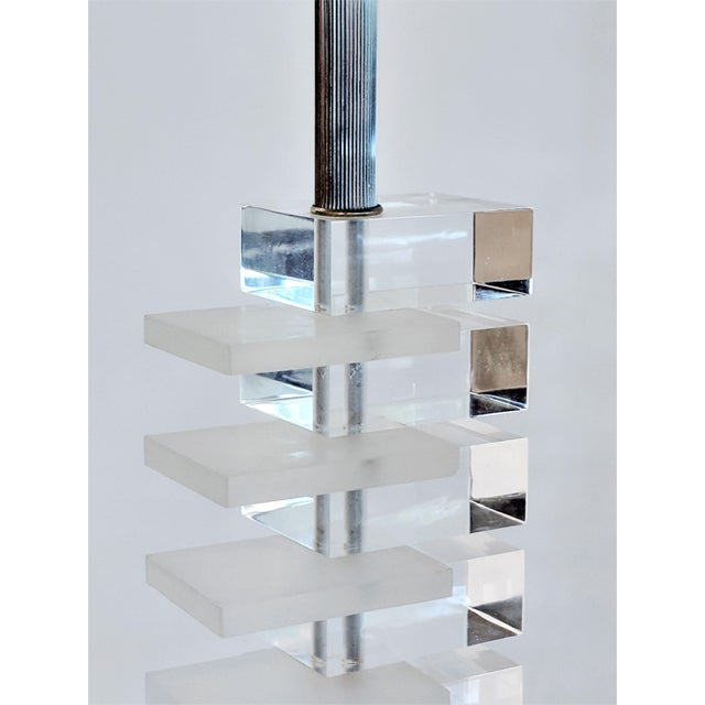 Mid-Century Modern Lucite Stacked Lamps - A Pair - Image 5 of 11