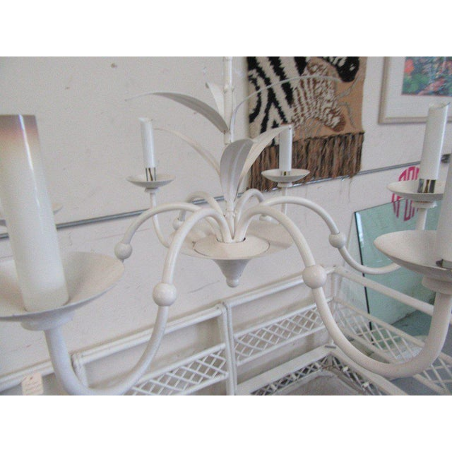 Petite White Tole Chandelier For Sale - Image 4 of 6