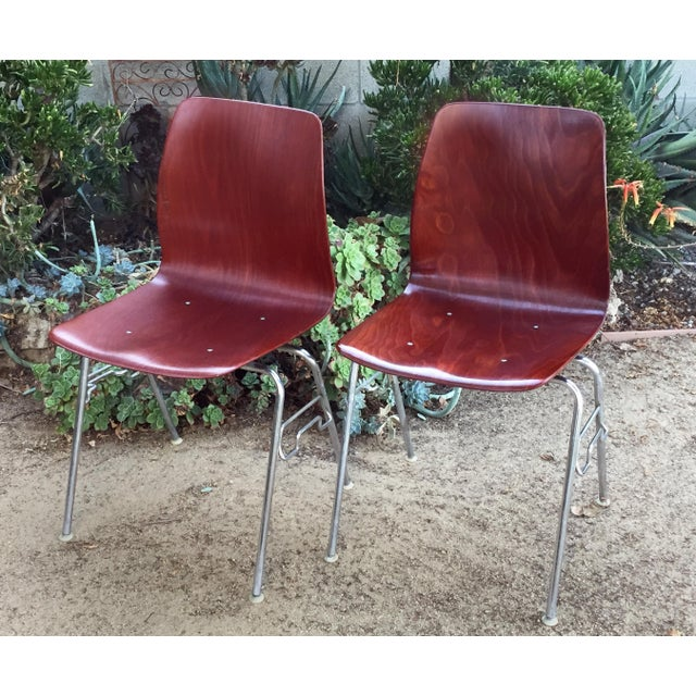 Metal Vintage Royal Pagholz Bent Plywood Stacking Chairs- a Pair For Sale - Image 7 of 7