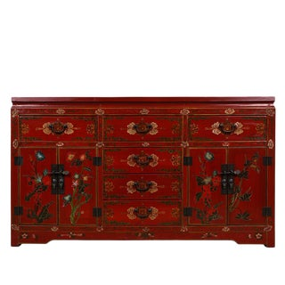 1960s Chinese Painted Ruby Red Wooden Cabinet/Buffet Table