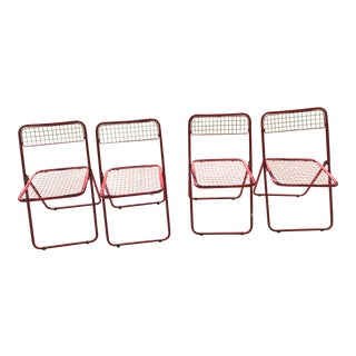 1980s Red Metal Folding Chairs- Set of 4 For Sale