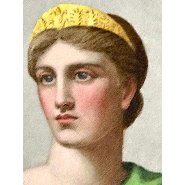 "Pair of Antique English Grand Tour Portrait Plaques ""Hera & Rhodus"" For Sale - Image 11 of 13"