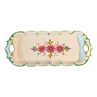 1970s Vintage Majolica Portuguese Serving Tray For Sale