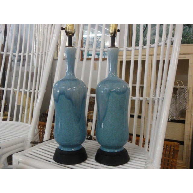 Mid-Century Modern Robin Egg Blue Glazed Lamps - A Pair - Image 9 of 10