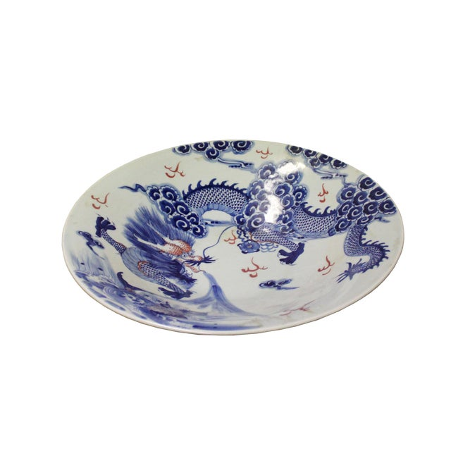 Chinese Blue White Dragon Painting Porcelain Charger Plate Bowl For Sale
