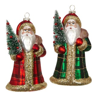 Kenneth Ludwig Chicago Plaid Santa Ornaments - a Pair For Sale