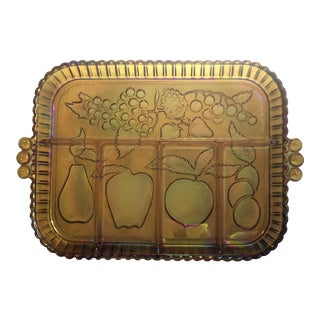 Vintage Indiana Glass Iridescent Serving Tray For Sale