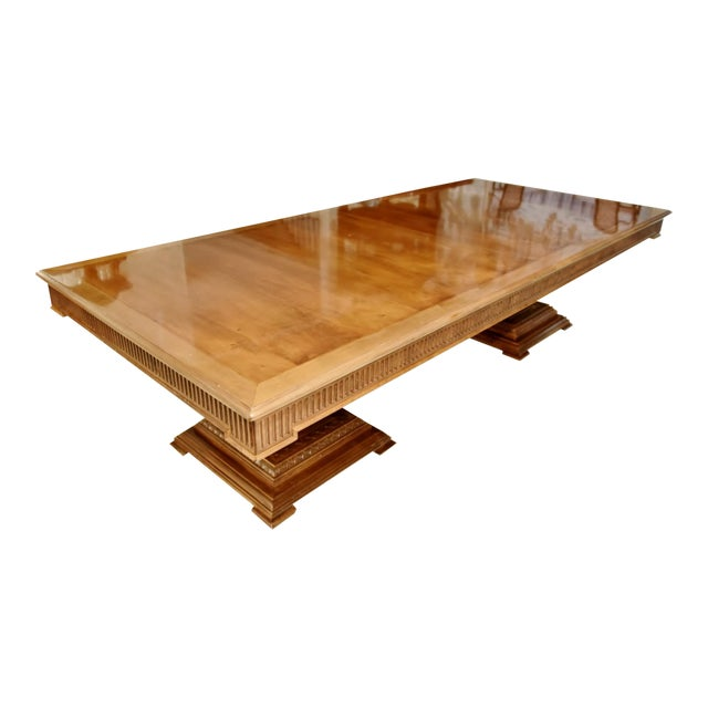 Contemporary Double Pedestal Banquet-Sized Extension Dining Table For Sale