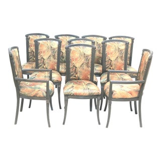 Vintage Mid-Century Art Deco Style 10 Dining Chairs- Set of 10 For Sale