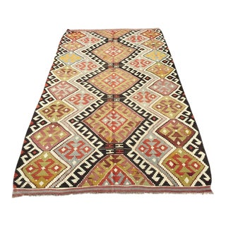 Vintage Turkish Kilim Rug 5′2″ × 8′10″ For Sale