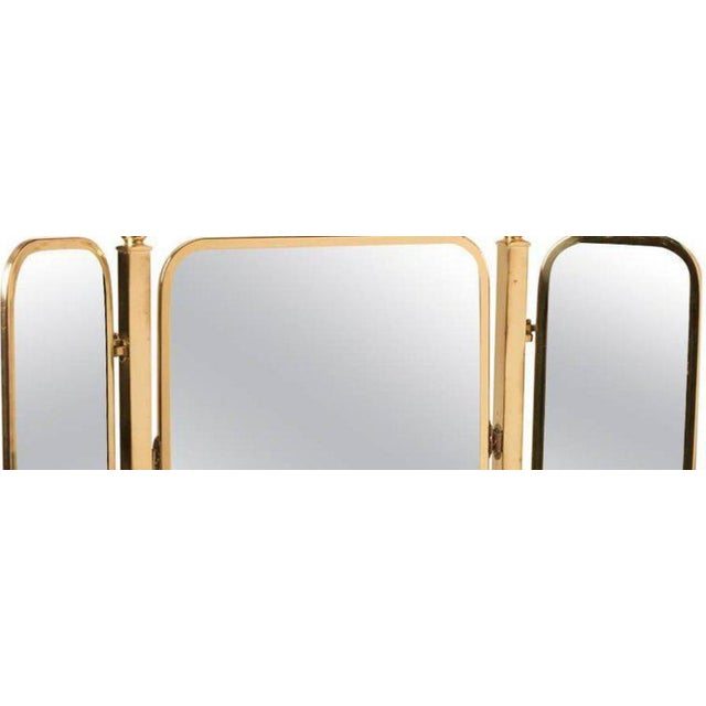 French Tri-Panel Brass Standing Vanity Mirror - Image 2 of 3