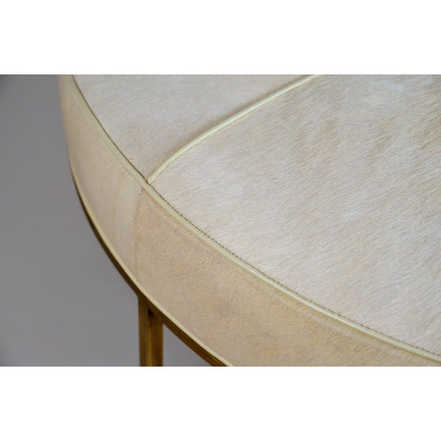 Brass White Hide and Patinated Brass 'Tambour' Ottoman by Design Frères For Sale - Image 7 of 9