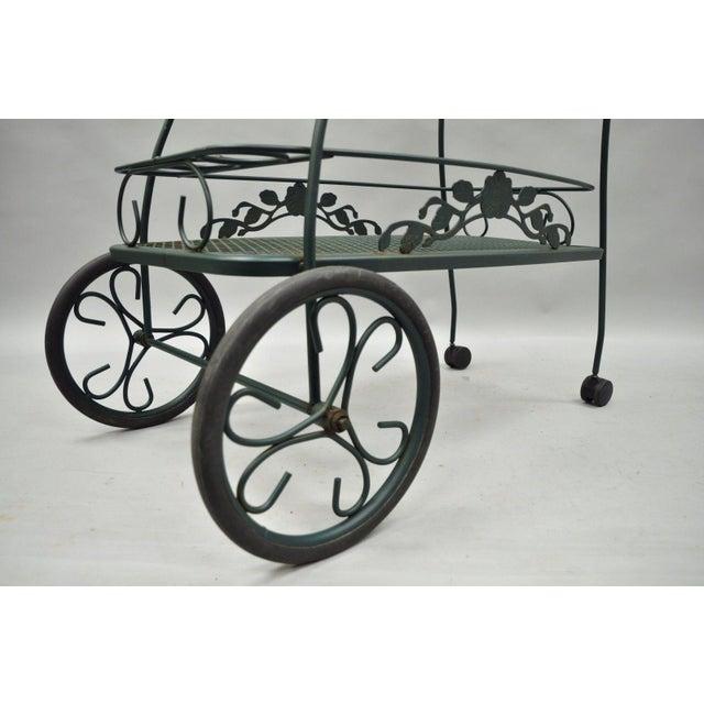 Meadowcraft Dogwood Green Wrought Iron Tea Cart Rolling Bar Server Patio Garden For Sale - Image 5 of 11