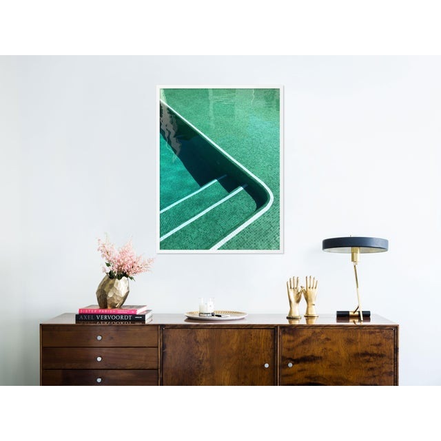 Contemporary Pool by Christine Flynn in White Framed Paper, Medium Art Print For Sale - Image 3 of 4