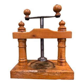 19th Century French Elmwood and Polished Iron Cheese or Fruit Press For Sale