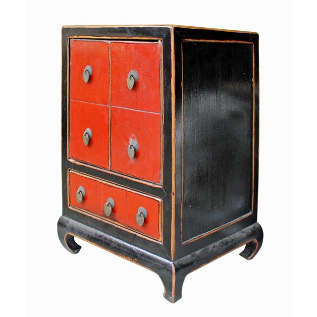 Chinese Black & Red Lacquer Cabinet - Image 4 of 6