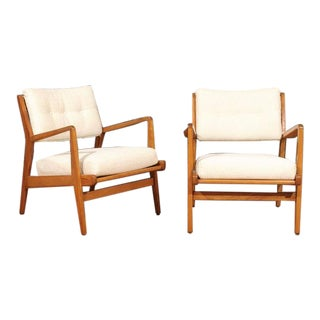 Restored Pair of Maple Loungers by Jens Risom For Sale