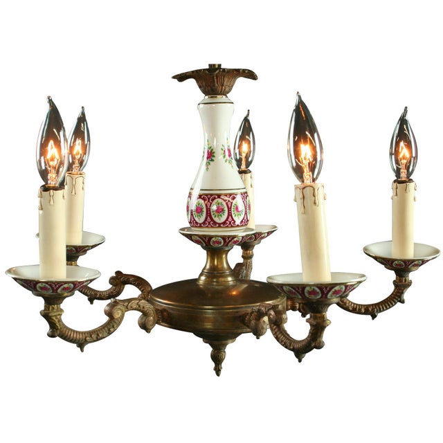 Vintage French Country Ceramic Chandelier - Image 1 of 3