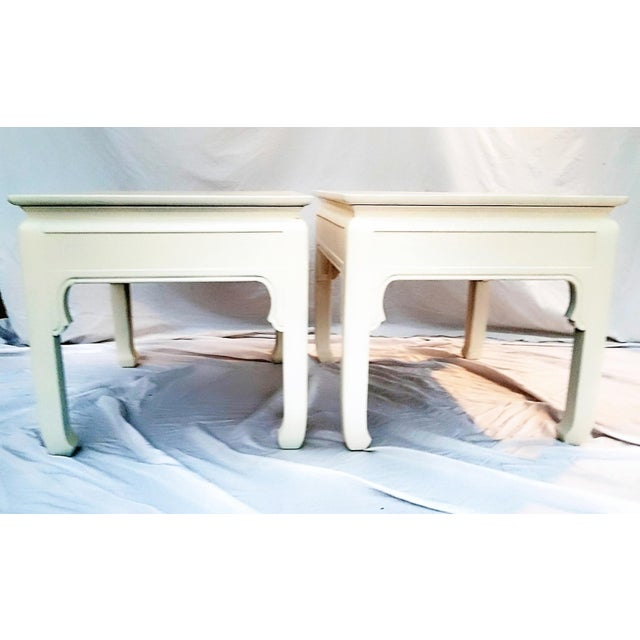 Asian 1960s Asian Inspired Linen White Solid Wood Side Tables - a Pair For Sale - Image 3 of 7