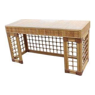 Vintage Italian Dal Vera Bamboo Woven Rattan MCM Desk/Console For Sale
