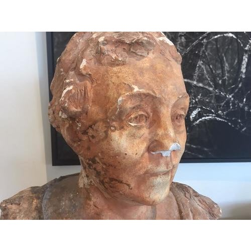 Ceramic Terra Cotta Bust, Early 20th Century For Sale - Image 7 of 10