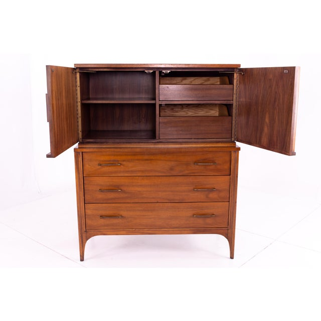 1960s Mid Century Kent Coffey Perspecta Walnut and Rosewood Armoire Gentleman's Chest Highboy Dresser For Sale - Image 5 of 13
