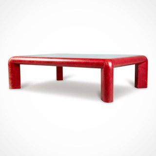 Karl Springer Signed Lipstick Red Leather and Brass Cocktail Table, Dated 1984 Preview