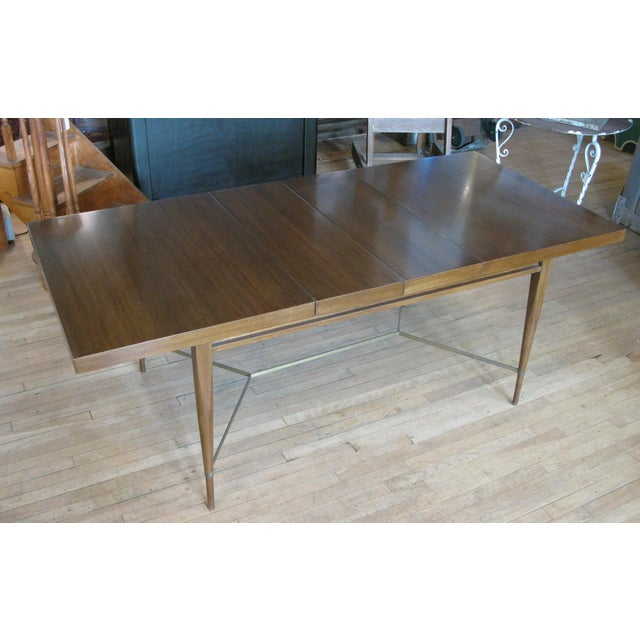 Mid-Century Modern 1950s Mahogany & Brass Extension Dining Table by Paul McCobb For Sale - Image 3 of 9