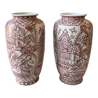 Pair, Large Hand Painted Asian Vases in Pink For Sale