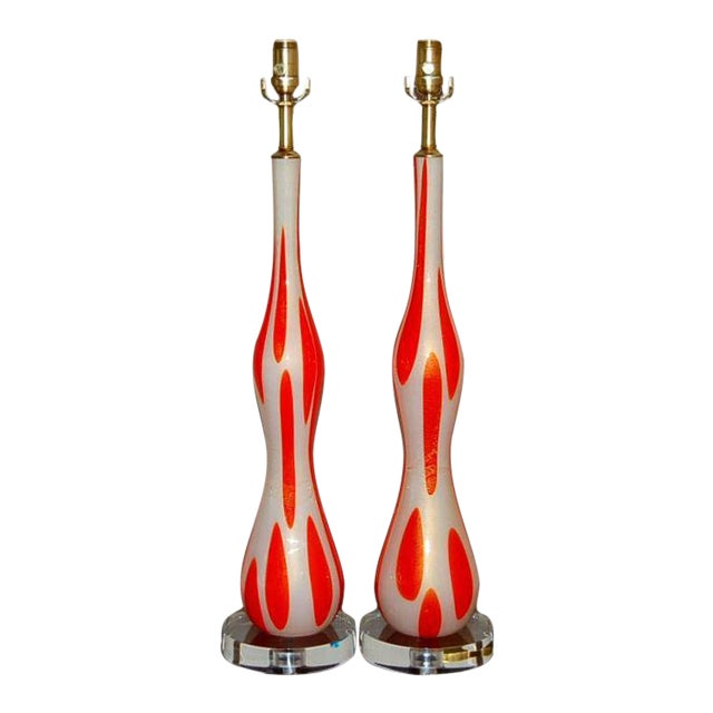 Vintage Murano Glass Table Lamps Orange and White For Sale