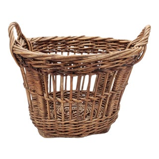 Antique French Woven Harvest Basket For Sale