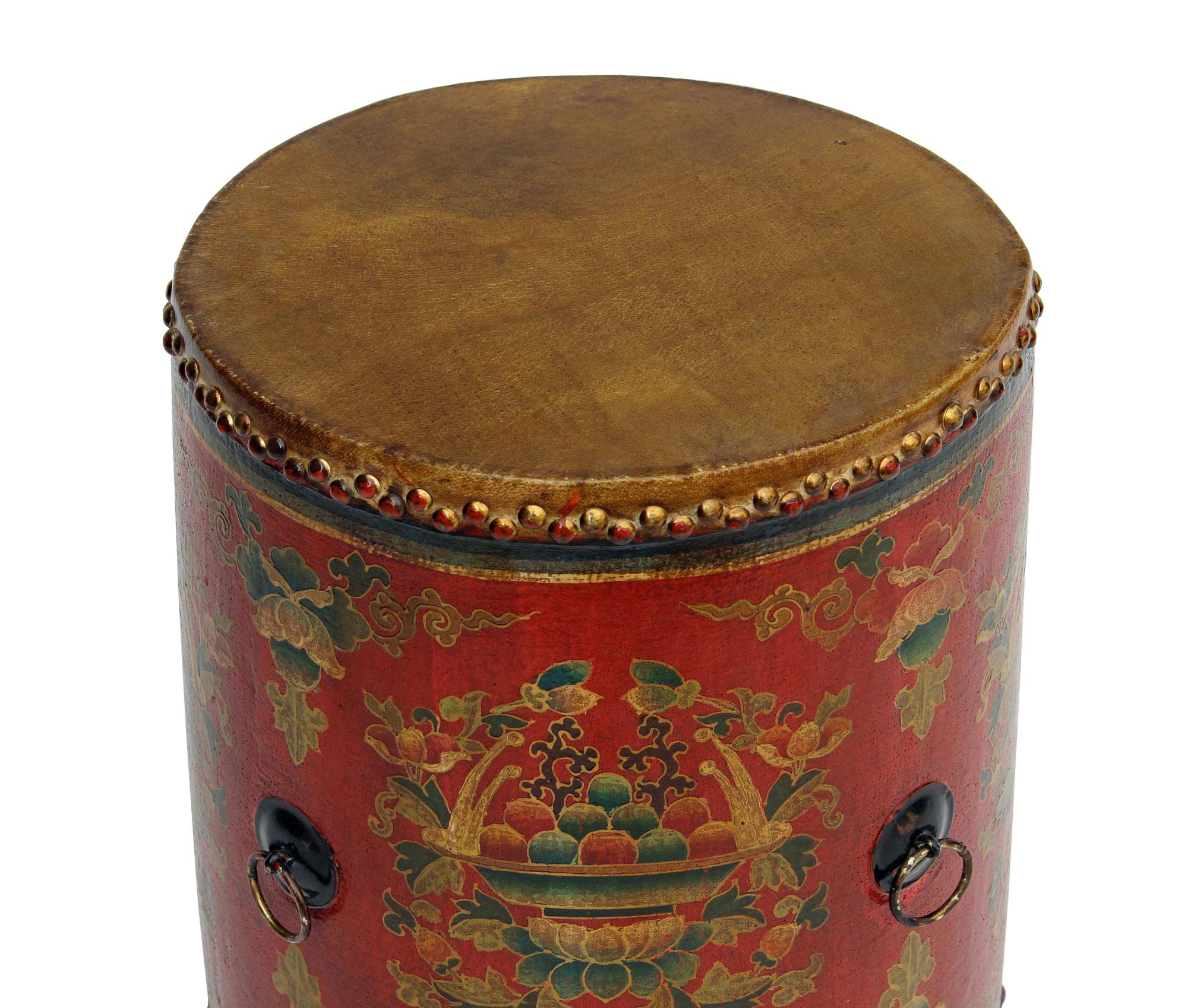 Distressed Chinese Tibetan Drum Shape Red Floral Coffee Side Table   Image  3 Of 6 Gallery