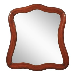 Curved Mahogany Wall Mirror For Sale