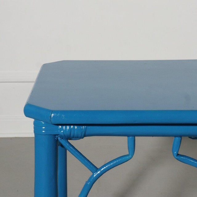Wood Rattan Fretwork Side Table Painted Blue For Sale - Image 7 of 9