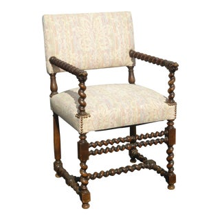 Vintage French Spanish Style Barley Twist Lion Head Hand Rest Accent Chair For Sale