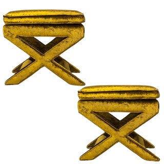 Billy Baldwin Velvet X-Benches- A Pair For Sale