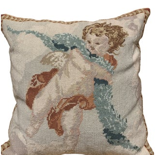 Vintage Cherub Needlepoint Pillow With a Velvet Back and Down-Filled Pillow For Sale