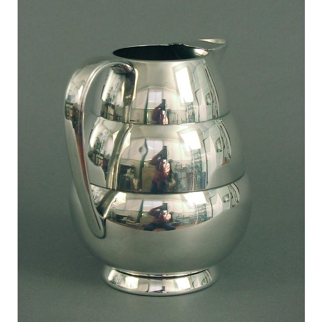 International Silver 1920s Art Deco Silver Plate Water Pitcher by the International Silver Co, of Meriden Ct For Sale - Image 4 of 7