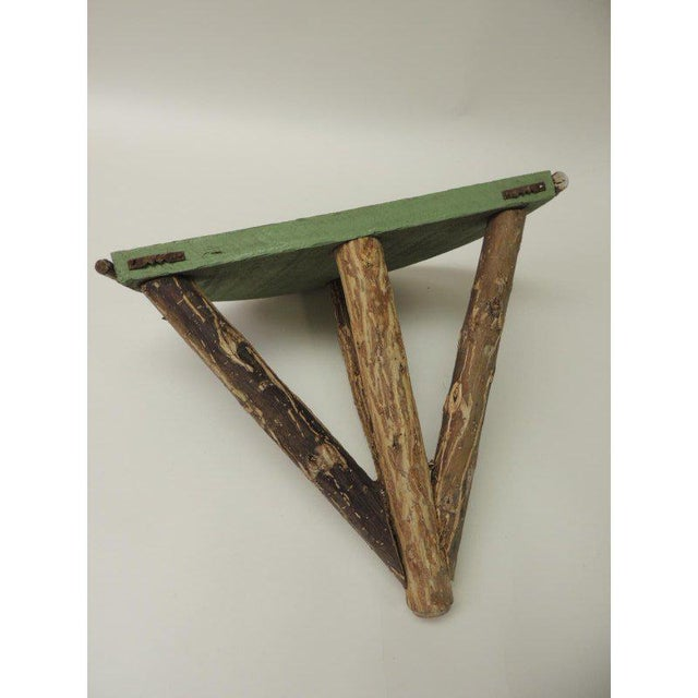 Rustic Willow Painted Green Garden Artisanal Wall Shelf/Bracket For Sale - Image 4 of 8