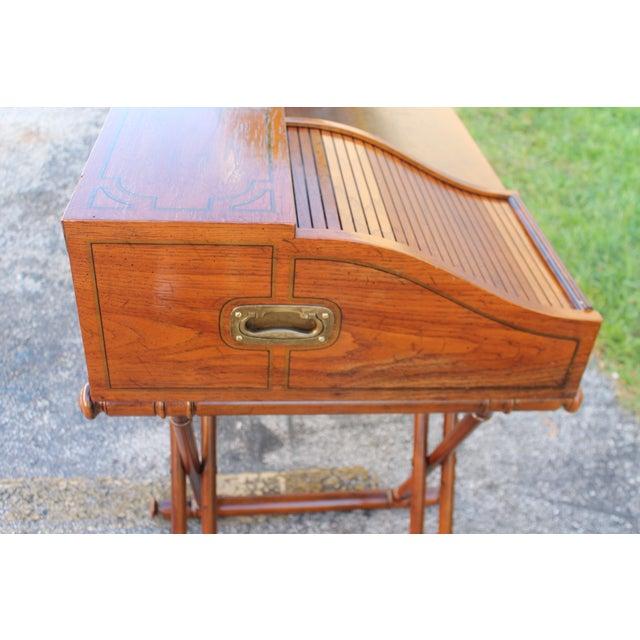 Vintage Campaign Rolltop Desk For Sale - Image 4 of 13