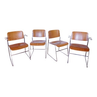 Vintage Swedish Modern Bentwood and Chrome Chairs - Set of 4 For Sale