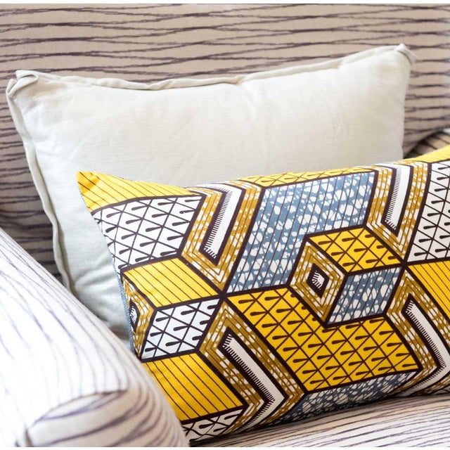 Yellow African Wax Print Square Pillow - Image 5 of 5