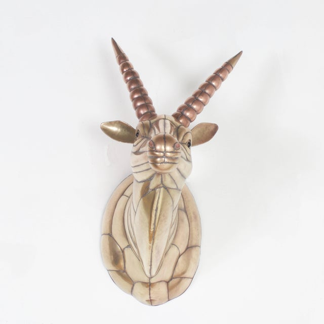 Mid-Century Modern Sergio Bustamante Mid-Century Brass and Copper Gazelle For Sale - Image 3 of 7