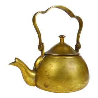 Vintage Small Mid-Century Brass Kettle For Sale