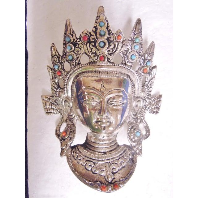 Tibetan Goddess Silver Mask Wall Hanging - Image 7 of 7