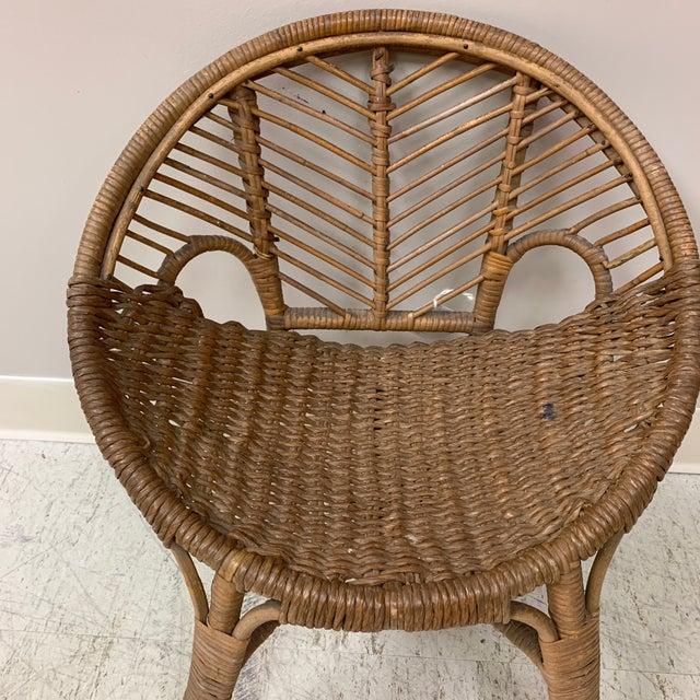 Americana 1920s Folk Art Wicker Child's Barrel Chair For Sale - Image 3 of 12