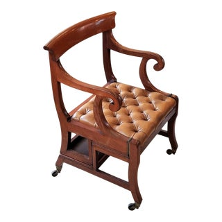 Early 19th Century English Mahogany Folding Library Steps Chair For Sale