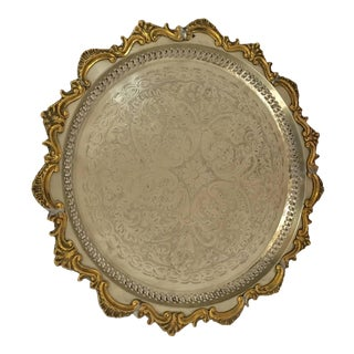 Moroccan Handcrafted Silver Round Tray With Brass Overlay Moorish Designs For Sale