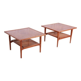 Kipp Stewart for Drexel Declaration Mid-Century Modern Walnut and Cane Side Tables - a Pair For Sale