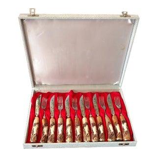 Vintage Anton Wingen Jr Hand Carved Stainless Steel Cutlery Set, Solingen Germany - 12 Piece Set For Sale